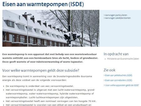 Per 1 januari 2016 subsidie op warmtepompen!