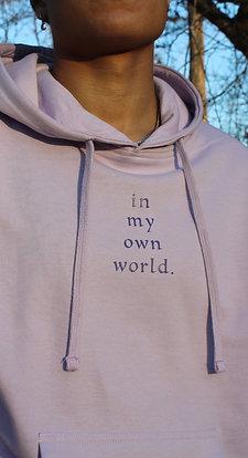 "lavender ""in my own world"" hoodie"