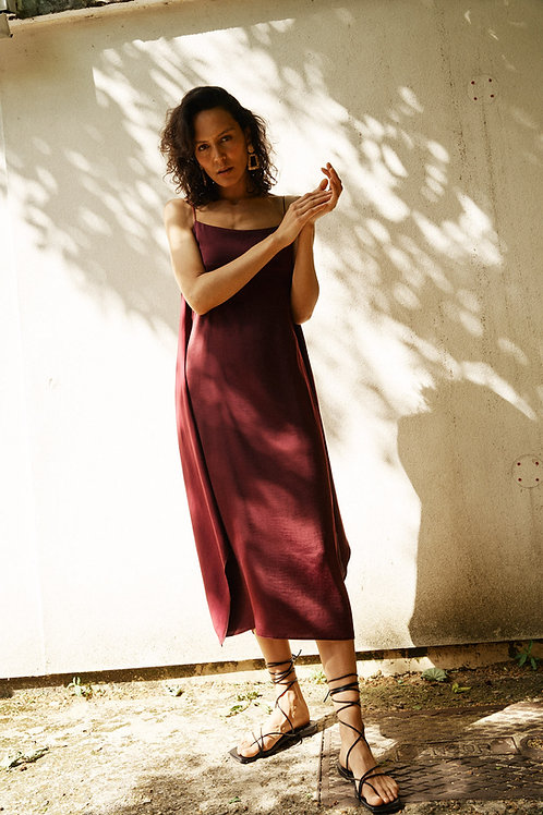 Gaia cami slip midi dress with tie detail in claret