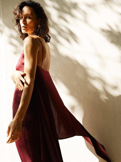 Gaia cami slip midi dress with sarong in claret