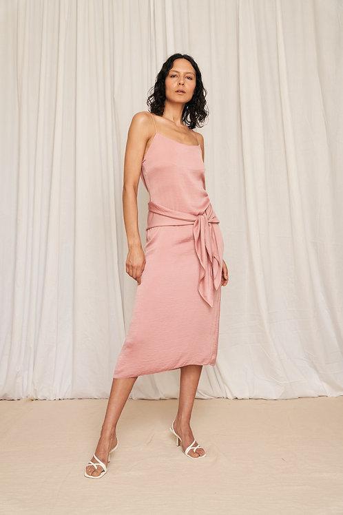 Gaia cami slip midi dress with tie detail in rose