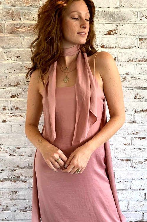 Gaia cami slip midi dress with tie detail in rose