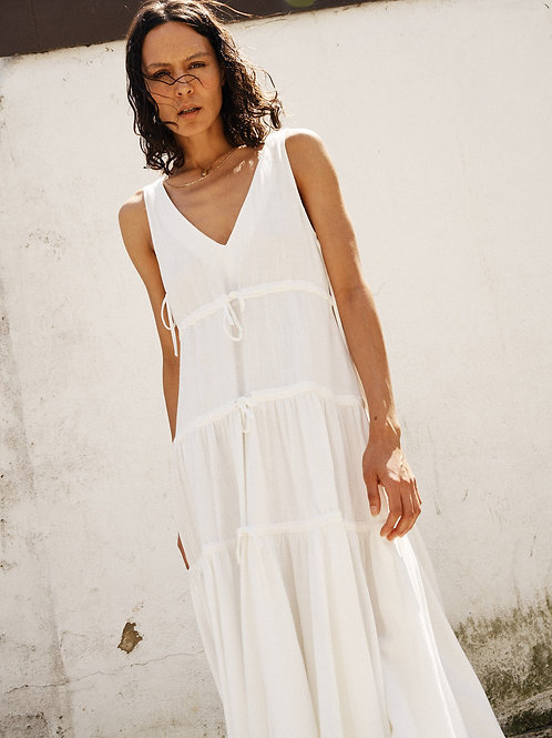 Willow textured linen tiered midi dress with ties