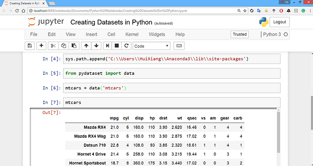 Creating hypothetical datasets - Process - Python