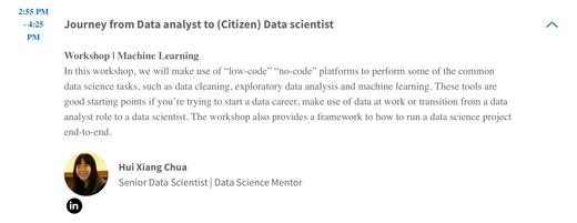 """Journey from Data analyst to (Citizen) Data scientist"" workshop at ODSC APAC 2021 - Announcement"