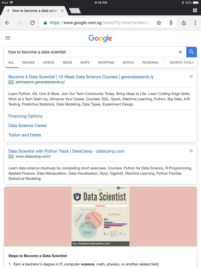 Information equity in online search results