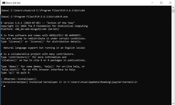 Installing R kernel in Jupyter