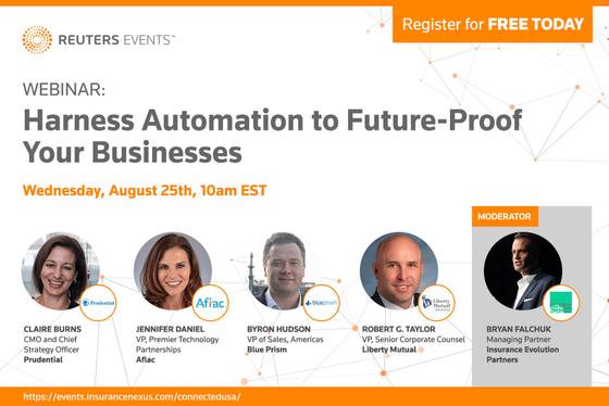 Prudential, Aflac, Liberty Mutual and Blue Prism join Reuters Events to discuss automation journey