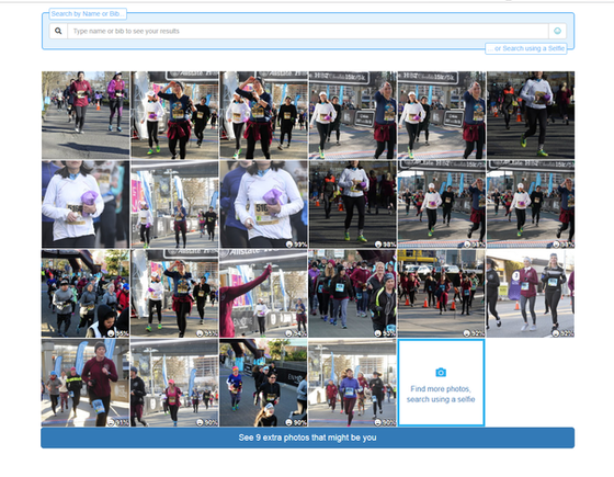 Facial recognition in race photos
