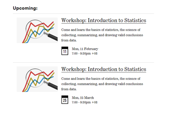 Introduction to Statistics workshop in Feb and Mar - Announcement
