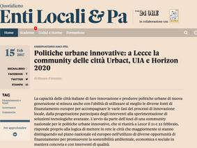Politiche urbane innovative: a Lecce la community delle città Urbact, UIA e Horizon 2020