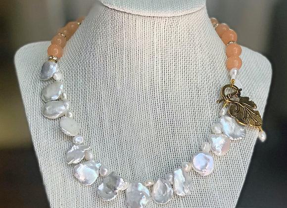 Keshi Pearls & Peach Beads