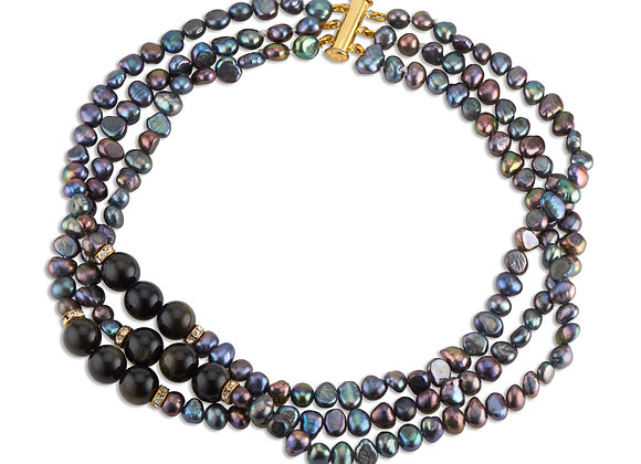 Black Baroque Pearls Choker