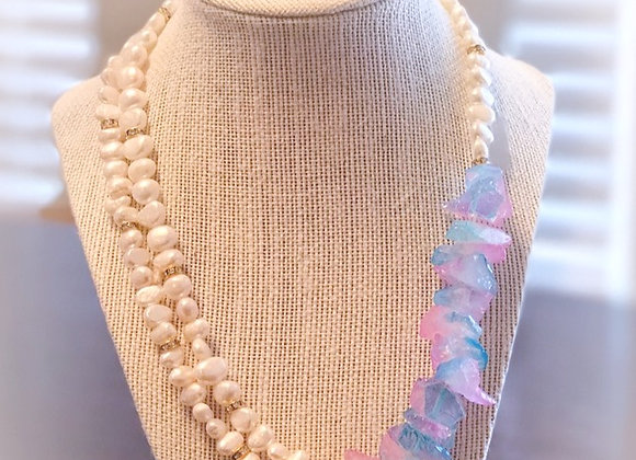 Baroque Pearls & Crystal Necklace