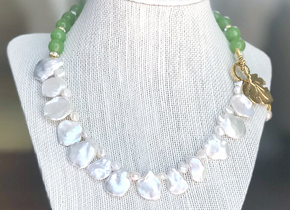 Keshi Pearls & Green Beads