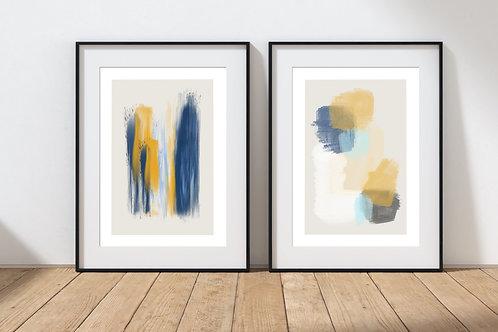 Minimalist Navy/Mustard Print