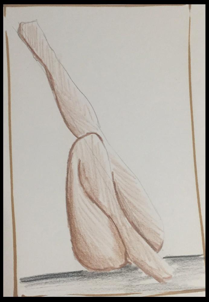 Boceto mujer tumbada con piernas en diagonal