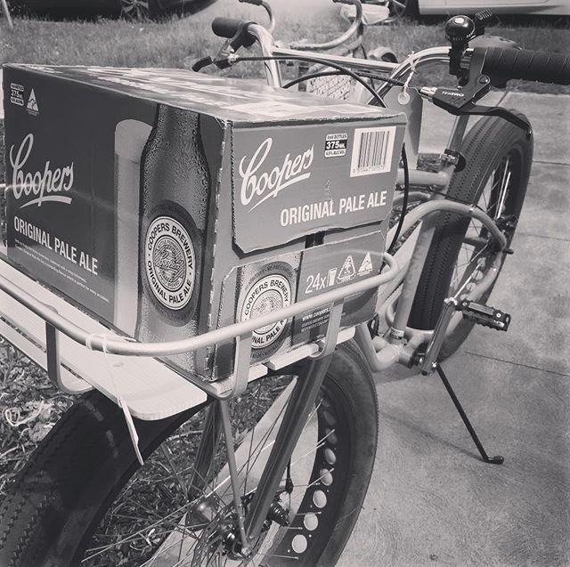 It does fit a slab of beer!__#cooperspaleale #beer #bikerack #bikeshop #spotswood #beerpackaging #co