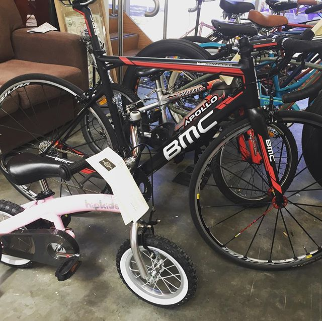 I do love variety.jpg BMC time machine and a kids pink 12_ bike