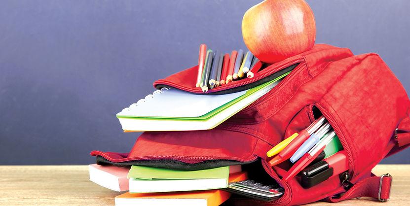 Red backpack school supplies