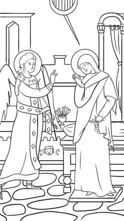 Icono de la Anunciación para colorear