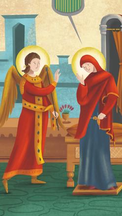 Icono de la Anunciación Coloreado