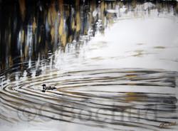 Huard- lake bird loon gold ink