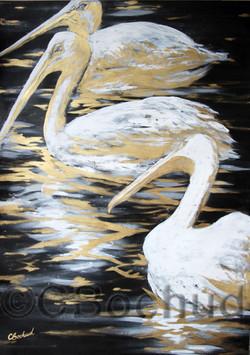 pelican bird gold ink gouache