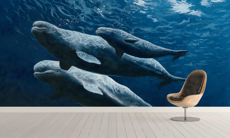 fond mur baleine Wallart