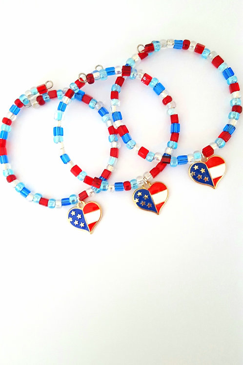 Americana Bitty Beads Single Wrap Bracelet