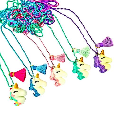 Bubble Beads Unicorn Necklace w/ Mini Tassel