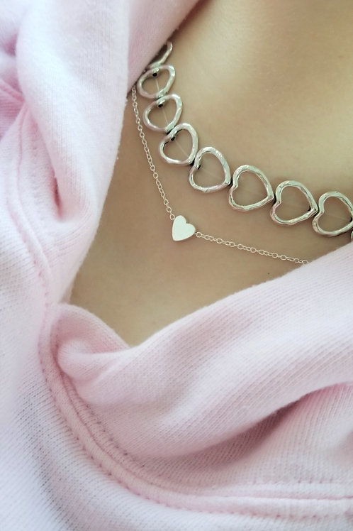 Silver Stamped Heart Choker