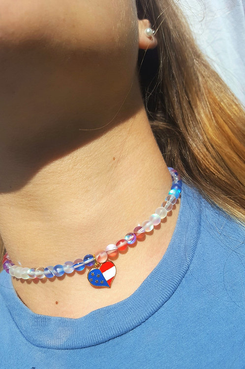 Americana Moonstone Gems Choker