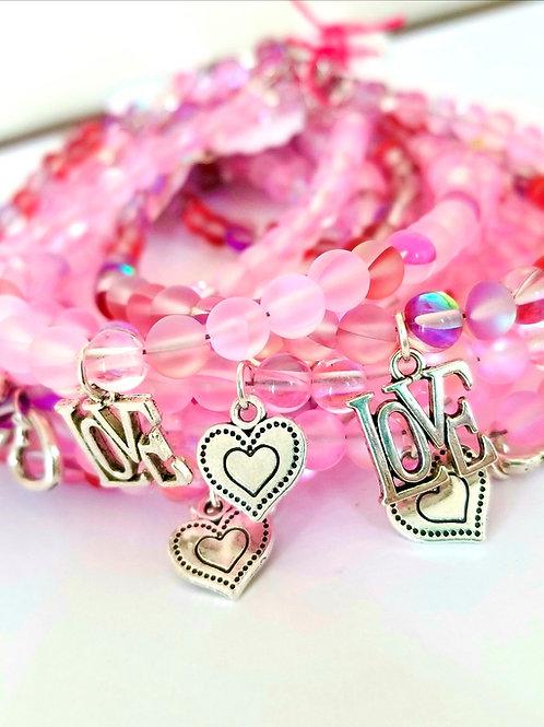Valentine's Day Moonstone Gems Bracelet w/Charm