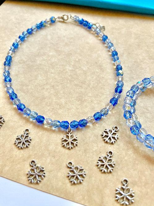 Snowflake Gems Choker Blue