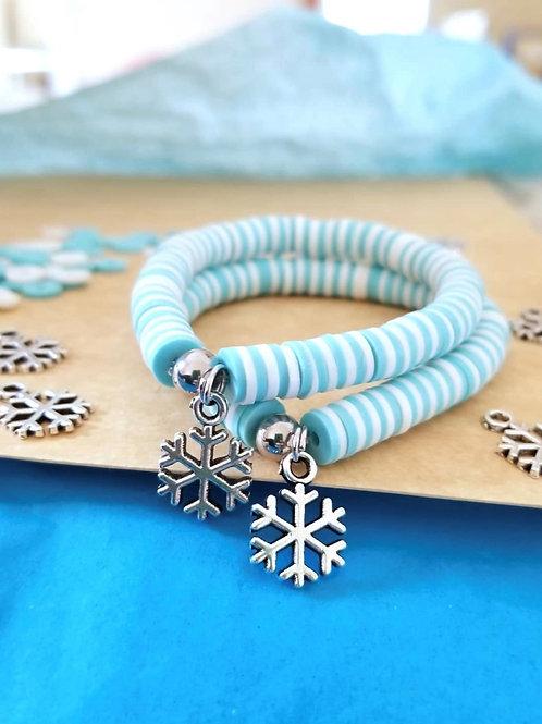 Snowflake Disco Clay Bracelet