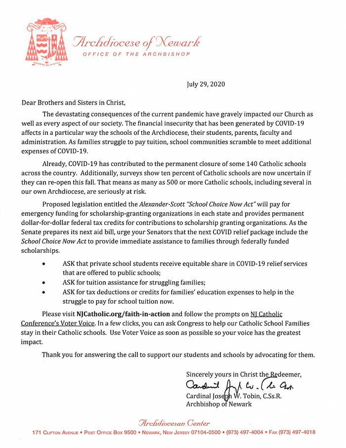 Cardinal Tobin's Letter on School Choice
