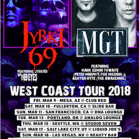 JYRKI 69 & MGT TO BRING GOTH ROCK TO WEST COAST IN MARCH