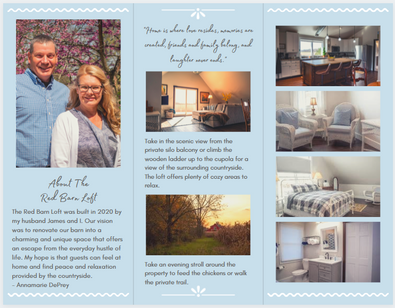 The Red Barn Loft Welcome Pamphlet