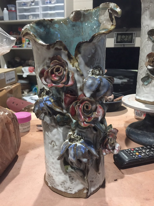 MOSS: Tall Rose Vase w/Blue