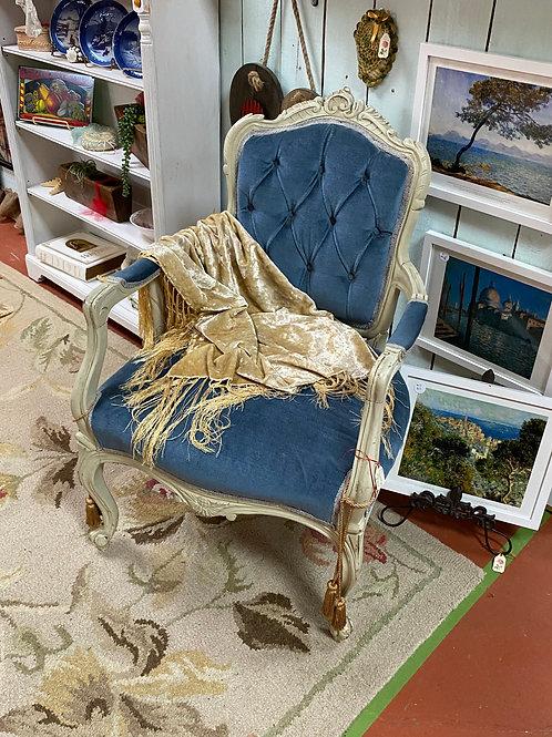 TEXAS TRAILS: Blue Velvet Victorian Arm Chair. Excellent condition. Wood painte