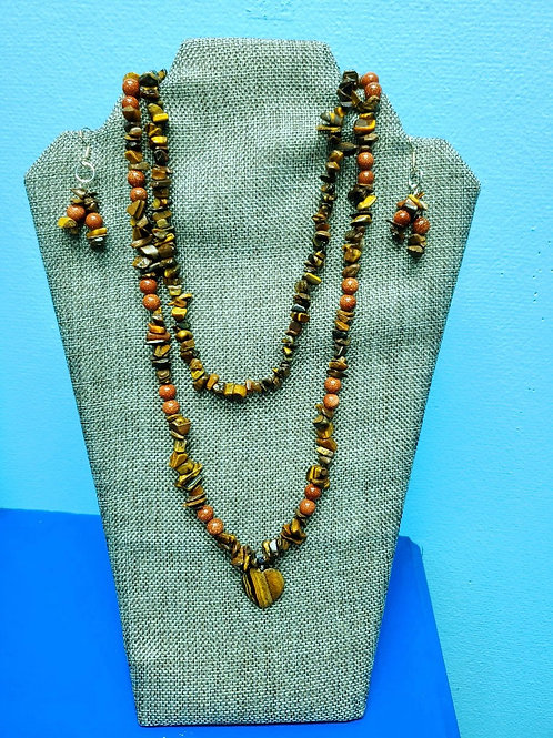 UNIQUE BEADS: Tiger's Eye And Goldstone Necklace And Earrings