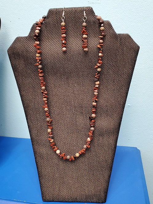 UNIQUE BEADS: Jasper and Red Tiger's Eye Necklace and Earrings