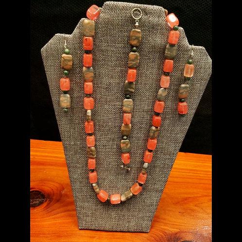 UNIQUE BEADS: Cherry Quartz Glass And Marble Jewelry Set