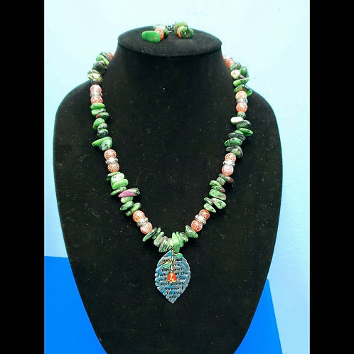 UNIQUE BEADS: Ruby Zoisite And Agate Necklace and Earrings