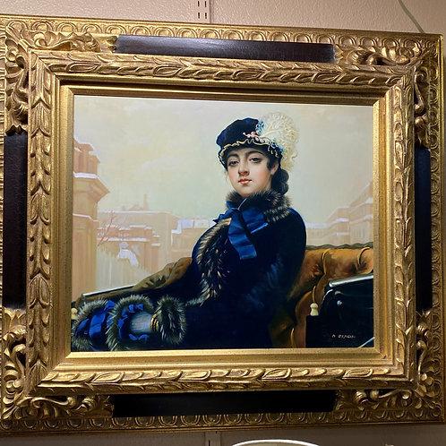 TEXAS TRAILS: Victorian Painting. Lovely Lady in Blue Velvet Dress. Gold Frame.