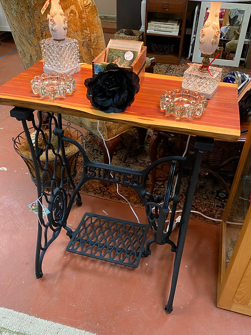 TEXAS TRAILS: Cedar Wood Top Singer Iron Base Table.  Nicely made.