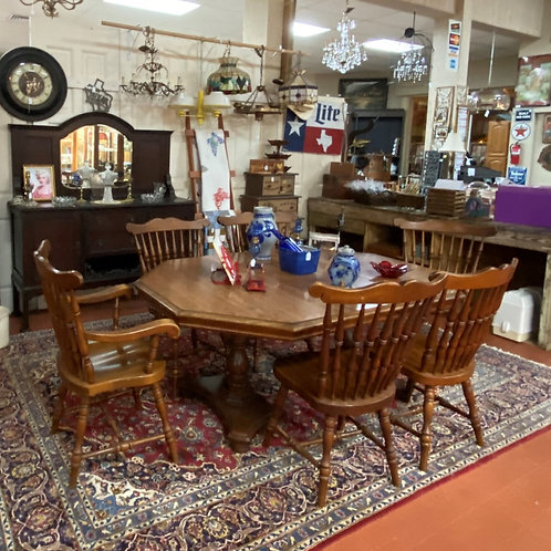 TEXAS TRAILS: Octagonal Maplewood Table/Spindle Back Chairs.