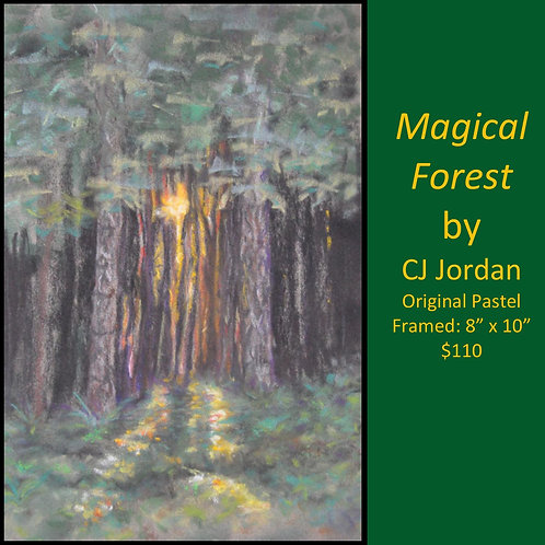"MONARCH: ""Magical Forest"" framed original pastel by CJ Jordan"