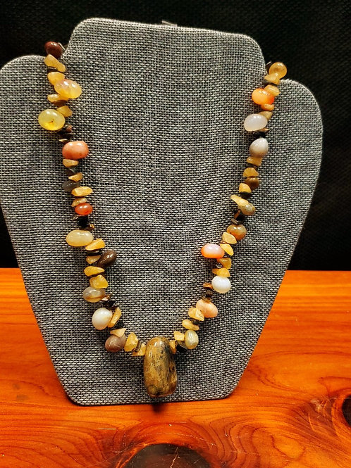 UNIQUE BEADS: Agate and Blue Tiger's Eye Necklace